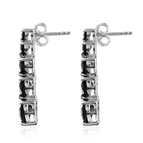 Boi Ploi Black Spinel (Hrt) Earrings (with Push Back) in Sterling Silver 7.250 Ct.
