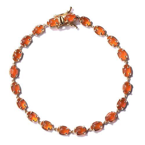 Orange Ethiopian Opal (Ovl) Bracelet (Size 7.5) in 14K Gold Overlay Sterling Silver 5.000 Ct.