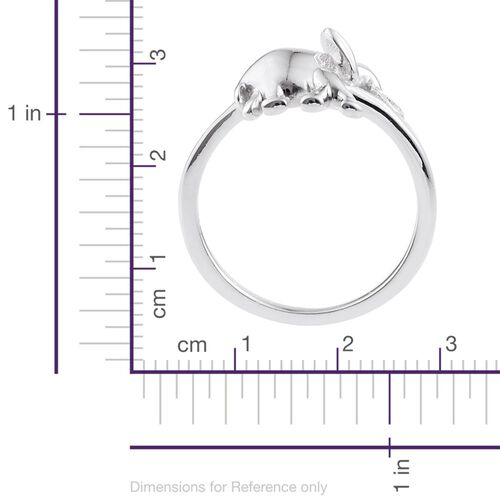 Elephant Stackable Silver Ring in Platinum Overlay, Silver Wt. 3.90 Gms.