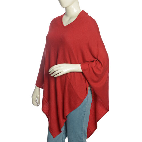 Limited Available - 100% Very Rare Pashmina Wool Designer Inspired Poncho in Burgundy Colour (Free Size)