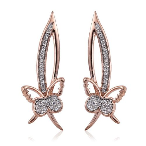 Kimberley Collection Natural Cambodian Zircon (Rnd) Butterfly Earrings (with Push Back) in Rose Gold Overlay Sterling Silver
