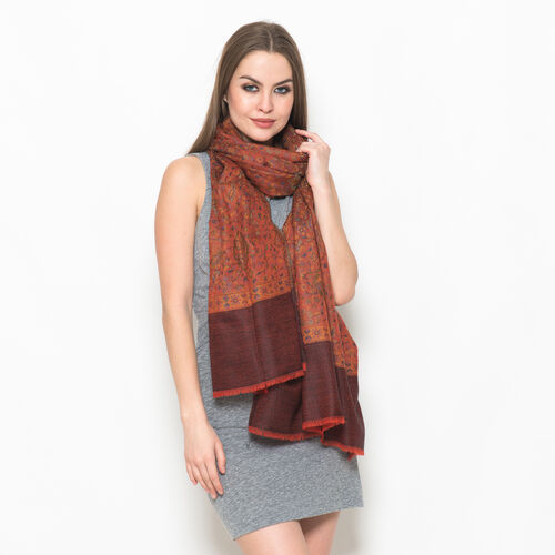 88% Merino and 12% Silk Jacquard Weaving Multi Colour Floral and Paisley Pattern Orange and Chocolate Colour Scarf (Size 200x70 Cm), Weight 89 Gram