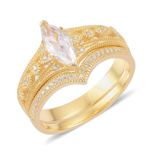 AAA Simulated White Diamond 2 Ring Set in Yellow Gold Overlay Sterling Silver