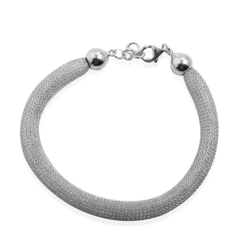 Designer Inspired Close Out Deal Rhodium Plated Sterling Silver Mesh Bracelet (Size 8), Silver wt 4.50 Gms.