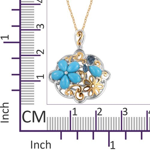 Arizona Sleeping Beauty Turquoise (Pear), London Blue Topaz Flower Pendant with Chain in Rhodium and Yellow Gold Overlay Sterling Silver 2.200 Ct.