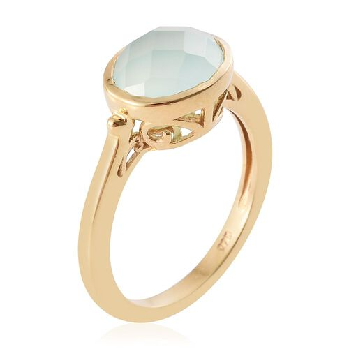 Aqua Chalcedony 2.75 Ct Silver Solitaire Ring in Gold Overlay