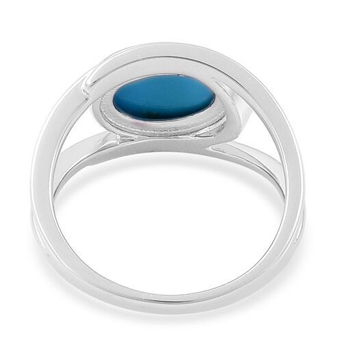 Arizona Sleeping Beauty Turquoise (Ovl) Solitaire Ring in Platinum Overlay Sterling Silver 2.500 Ct.