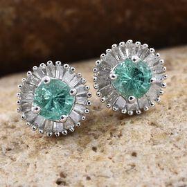 9K White Gold AA Boyaca Colombian Emerald (Rnd), Diamond Stud Earrings (with Push Back) 0.900 Ct.