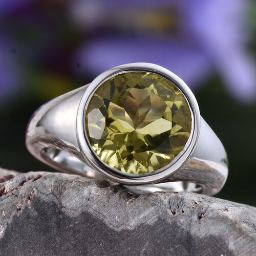 Natural Ouro Verde Quartz (Rnd) Solitaire Ring in Platinum Overlay Sterling Silver 3.500 Ct.