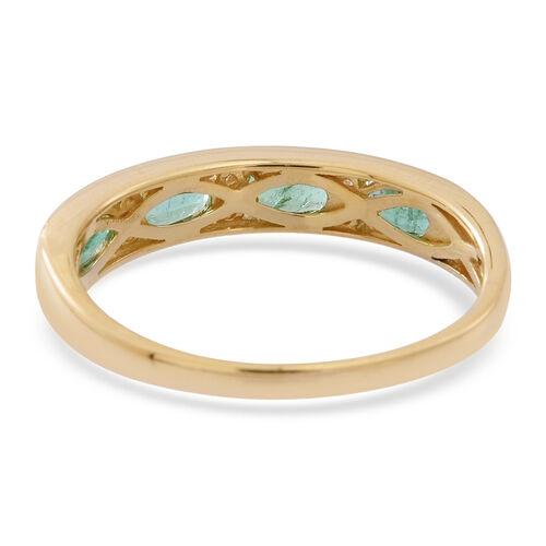 9K Yellow Gold AAA Kagem Zambian Emerald (Ovl), Natural Cambodian Zircon Ring 1.250 Ct.