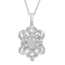 Brazilian Milky Aquamarine (Ovl), Natural Cambodian Zircon Pendant with Chain in Platinum Overlay Sterling Silver 2.941 Ct.