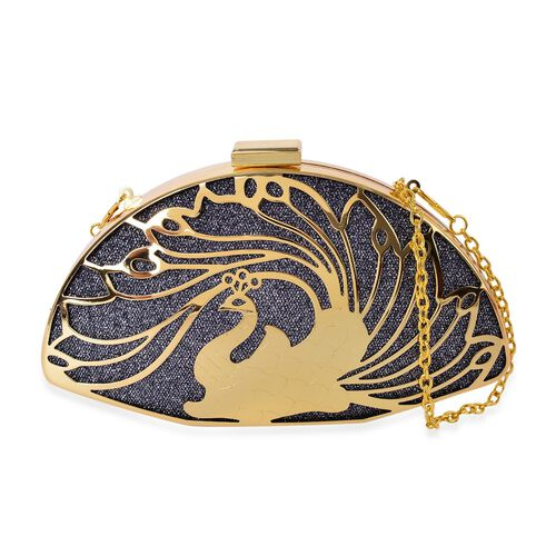 Limited Collection Luxe Golden Peacock Clutch with Chain Strap (Size 20x11x4.5 Cm)