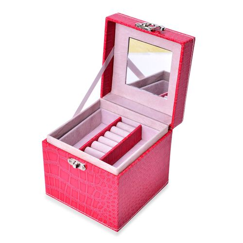 Rose Red Colour Croc Embossed 3 Layer Jewellery Box with Mirror inside (Size 12x12x12 Cm)