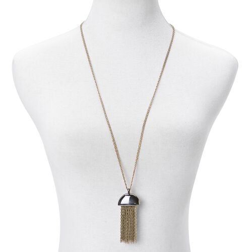 Tassel Necklace (Size 32) in Silver and Yellow Gold Tone