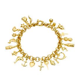 Designer Inspired- 9K Yellow Gold Multi Charm Bracelet (Size 7.5) Gold Wt. 16.6 Grams