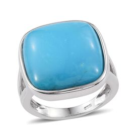 Arizona Sleeping Beauty Turquoise (Cush) Ring in Platinum Overlay Sterling Silver 12.500 Ct.