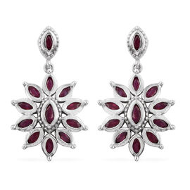 African Ruby (Mrq) Floral Earrings (with Push Back) in Platinum Overlay Sterling Silver 2.750 Ct.