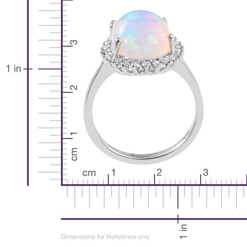 ILIANA 18K White Gold AAAA Ethiopian Welo Opal (Ovl 4.70 Ct), Diamond (SI/G-H) Ring 5.000 Ct.