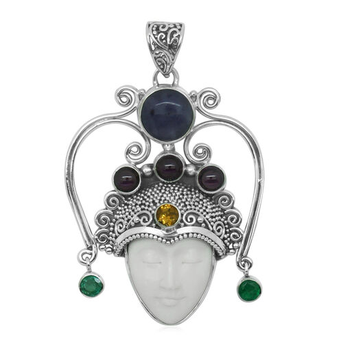 Princess Bali Collection OX Bone Carved Face (Ovl 8.00 Ct), Purple Opal, Rhodolite Garnet, Kagem Zambian Emerald and Citrine Pendant in Sterling Silver 14.390 Ct.
