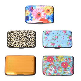 Set of 5 - Golden and Multi Colour Pattern RFID Blocking Water Resistant Card Holders (Size 11x7x2 Cm)