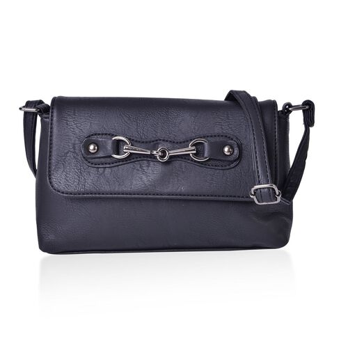 Black Colour Horsebit Buckle Design Crossbody Bag with Adjustable Shoulder Strap (Size 23X16X5.5 Cm)