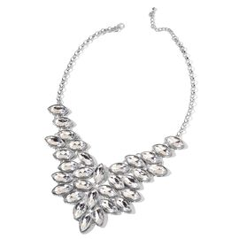 Simulated White Colour Stone Necklace (Size 20 with 2 inch Extender) in Silver Tone