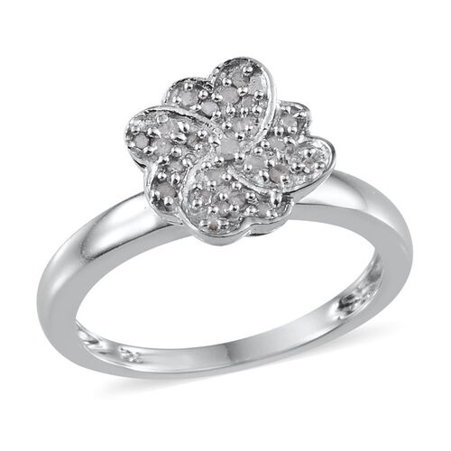 Diamond (Rnd) Floral Ring in Platinum Overlay Sterling Silver 0.150 Ct