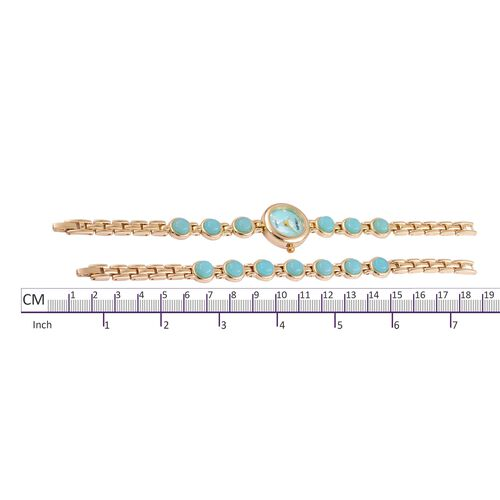 STRADA Japanese Movement Russian Amazonite Studded Water Resistant Watch (Size 8.25) and Bracelet (Size 7.5 ) in Yellow Gold Tone 57.200 Ct.