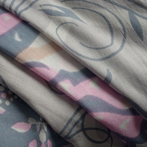 Grey, Pink and Multi Colour Butterfly Pattern Kaftan (Size 100X90 Cm)
