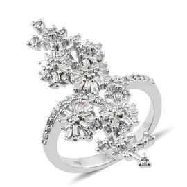 Diamond (Rnd) Flower Ring in Platinum Overlay Sterling Silver 0.820  Ct. Number of Diamonds 105 Silver wt 6.50 Gms.