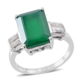 Verde Onyx (Oct 7.00 Ct), White Topaz Ring in Rhodium Plated Sterling Silver 7.500 Ct.