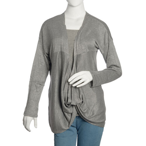 Grey Colour Cow Neck Pattern Cardigan (Size Medium / Large)
