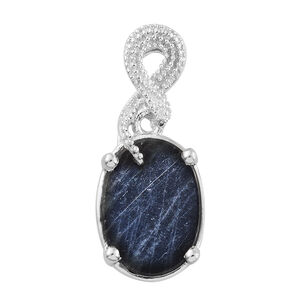 Natural Spectrolite (Ovl) Solitaire Pendant in Platinum Overlay Sterling Silver 3.500 Ct.