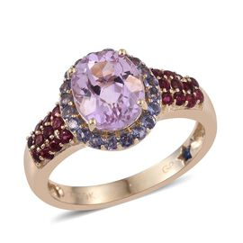 GP 9K Y Gold AAA Kunzite (Ovl 3.00 Ct), Rubelite, Iolite and Kanchanaburi Blue Sapphire Ring 3.800 Ct.