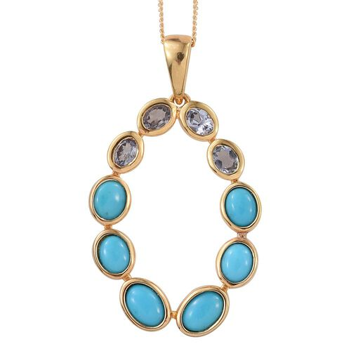 Arizona Sleeping Beauty Turquoise (Ovl), Bondi Blue Tanzanite Pendant with Chain in 14K Gold Overlay Sterling Silver 3.250 Ct.