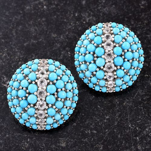 12.50 Carat Arizona Sleeping Beauty Turquoise And White Topaz Cluster Stud Earrings in Platinum Overlay Sterling Silver