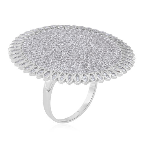 Designer Inspired-ELANZA AAA Simulated White Diamond (Rnd) Cluster Ring in Rhodium Plated Sterling Silver