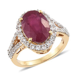 Limited Edtion- Designer Inspired- Very Rare AAA African Ruby (Ovl 14X10 mm 7.75 Ct), Natural CambodianWhite Zircon Ring in 14K Gold Overlay Sterling Silver 9.000 Ct.
