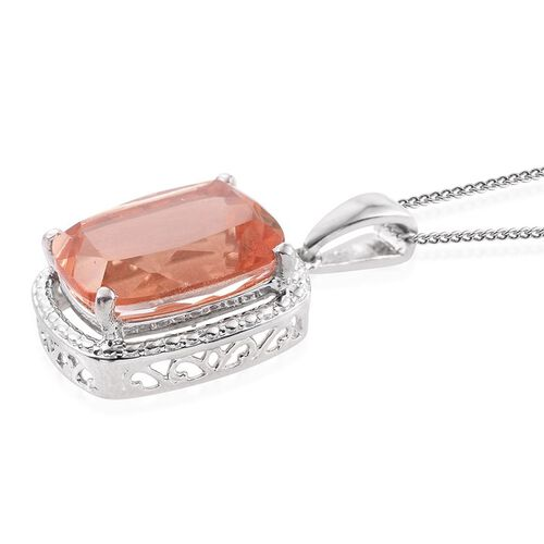 Galileia Blush Pink Quartz (Cush) Solitaire Pendant With Chain in Platinum Overlay Sterling Silver 8.000 Ct.