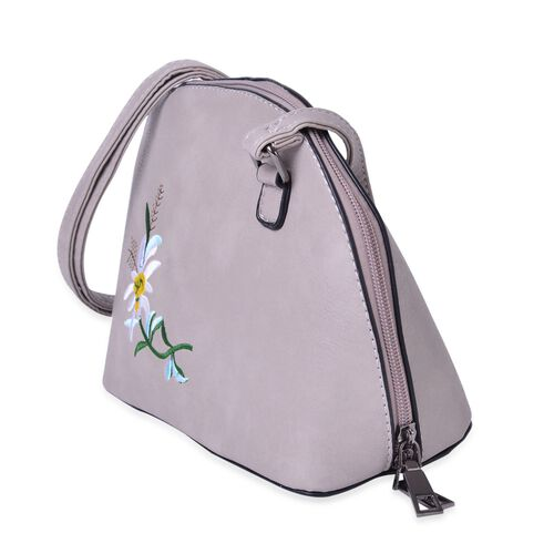 Light Grey, White and Multi Colour Flower Embroidered Crossbody Bag with Adjustable Shoulder Strap (Size 22X17X10 Cm)