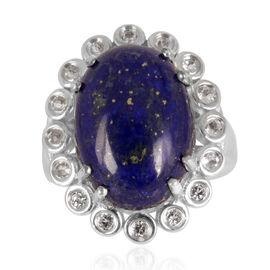 Lapis Lazuli (Ovl 16.50 Ct), White Topaz Ring in Platinum Overlay Sterling Silver 17.250 Ct.