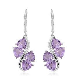 Rose De France Amethyst (Trl) Lever Back Earrings in Sterling Silver 5.750 Ct.