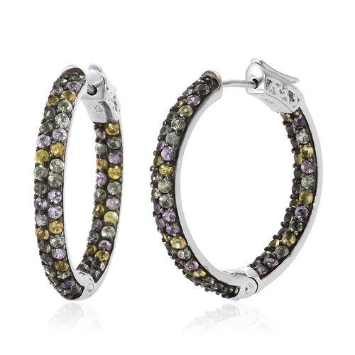 Multi Sapphire (Rnd) Hoop Earrings in Platinum Overlay Sterling Silver 4.000 Ct. Silver wt. 8.24 Gms. Number of Gemstones 120