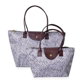 Designer Inspired-Set of 2 - Black and White Colour Leopard Pattern Large Handbag (Size 45x28x27.5x17 Cm) and Small Handbag (Size 32x21x20x12.5 Cm)