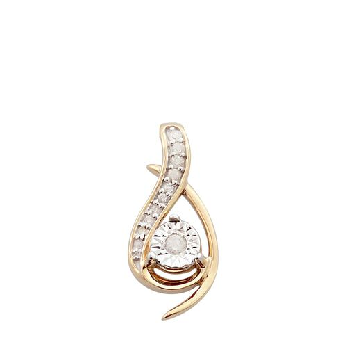 9K Yellow Gold 0.25 Ct Diamond Pendant and Earrings Set SGL Certified (I3/G-H)