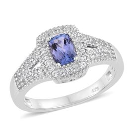 Tanzanite (Cush), Natural Cambodian Zircon Ring in Platinum Overlay Sterling Silver 1.000 Ct.