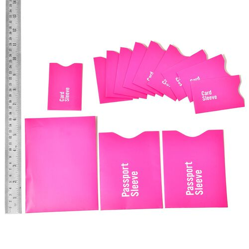 Set of 13 - Pink Colour RFID Blocker Sleeves (Ten for Credit Card, Two for Passport and One for Document)