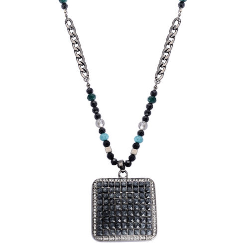 White Austrian Crystal, Multi Colour Glass and Simulated Black Stone Necklace (Size 32) in Silver Tone