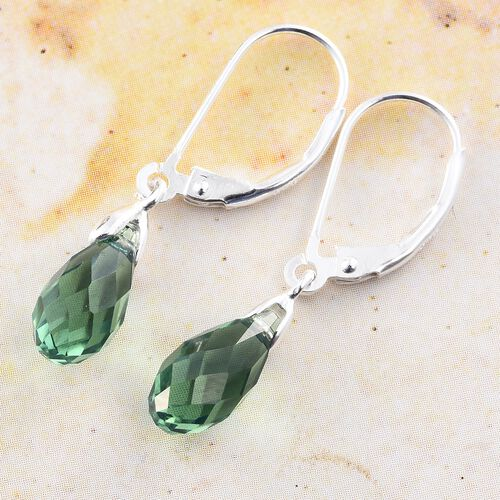 J Francis Crystal from Swarovski - Erinite Colour Crystal Drop Lever Back Earrings in Sterling Silver