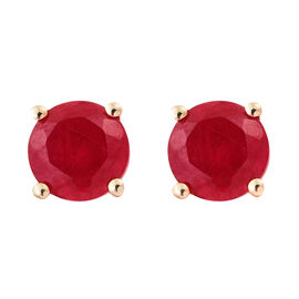 African Ruby (1.40 Ct) 9K Y Gold Earring  1.400  Ct.